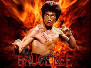Bruce Lee - Flames - wallpaper